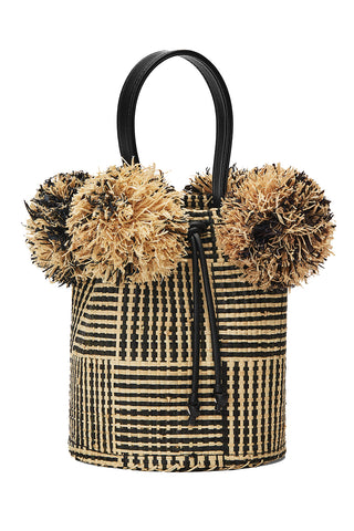Raffia Mini Pom Pom Bag in Bicolor