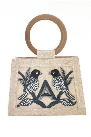 Echo Linen Bag With Birds & Letter Applique In Beige