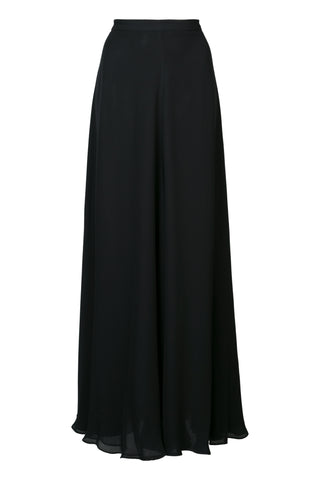 Long Double Layer Chiffon Skirt - Black