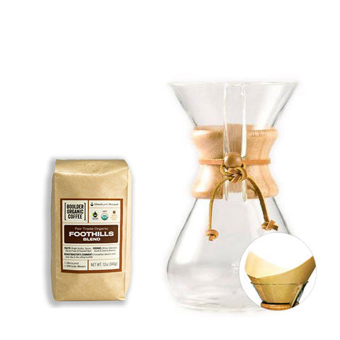 Chemex 8 cup Coffeemaker with Filters (100ct, Natural) + FREE BAG of Foothills Blend