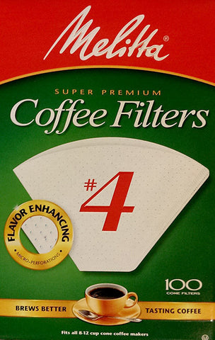 Melitta Cone Coffee Filters - 100 ct - #4 White