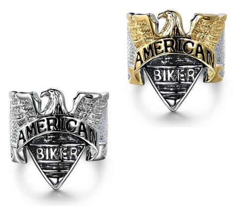 Stainless Steel American Biker Eagle Ring (sizes 8-15)