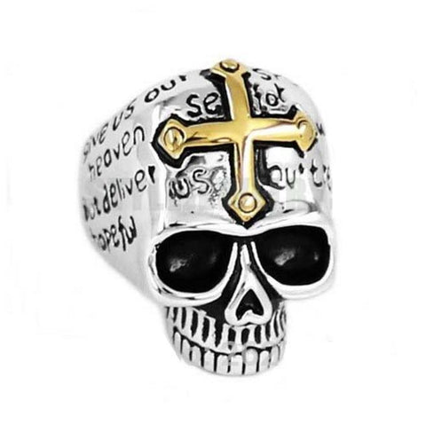 Carved Cross on Skull Biker Ring (size 8-15)
