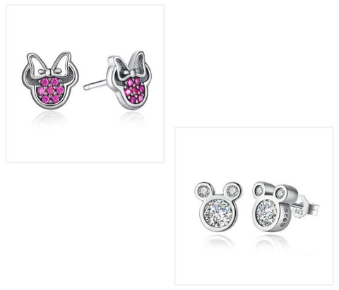 925 Sterling Silver Minnie Mouse Sweet Earrings
