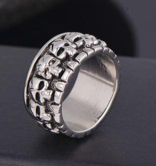 Metallic Punisher Type Biker Ring