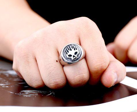 Flaming Ghost Biker Ring (sizes 7-13)