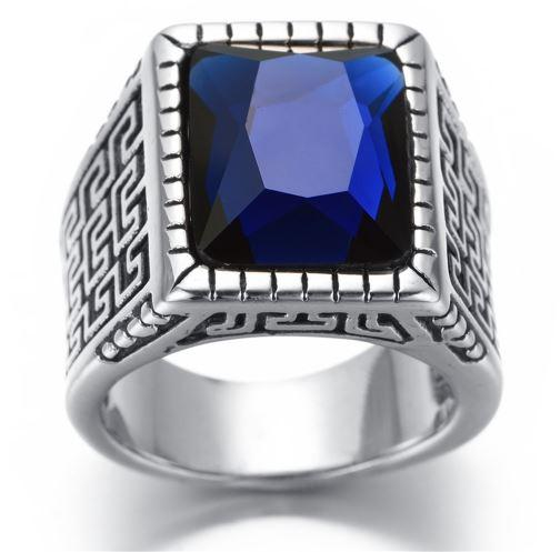 Men's Blue Crystal Stainless Steel Biker Ring (sizes 8-13)