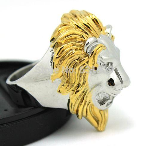 Stainless Steel Golden Lion Head Biker Ring