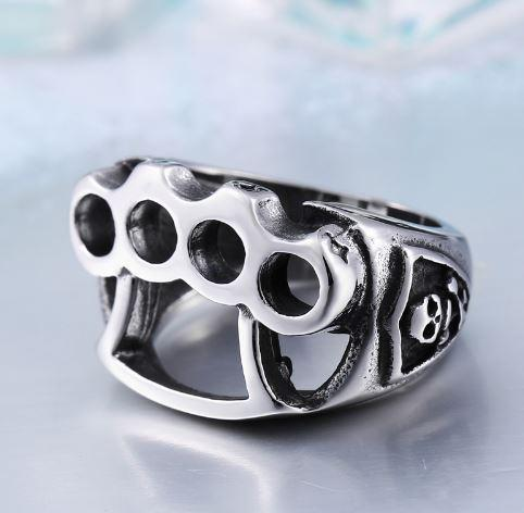 Stainless Steel Knuckle Brass Biker Ring