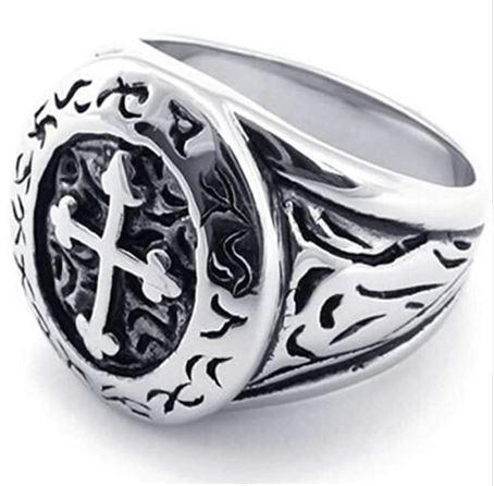Metallic Vintage Cross Biker Ring