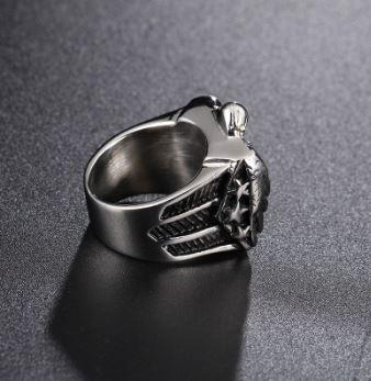 Stainless Steel American Eagle and Flag Biker Ring