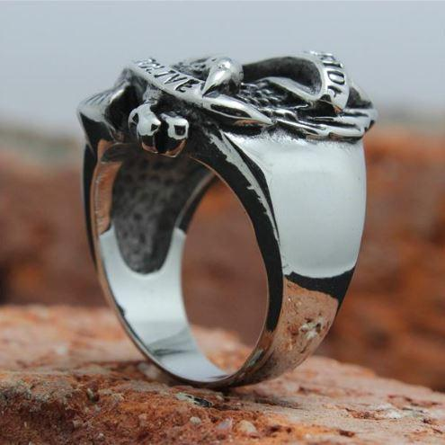 Stainless Steel Eagle Ride to Live Biker Ring