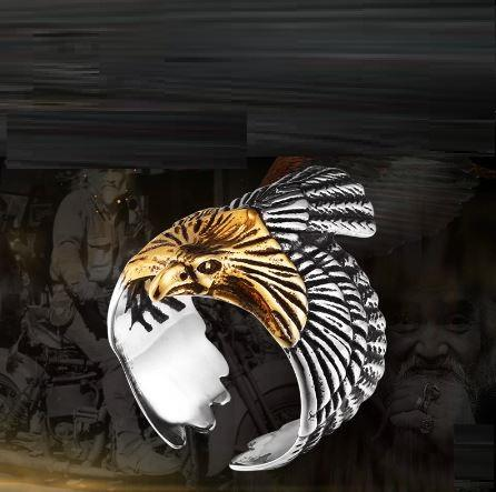 Stainless Steel Golden Head Eagle Biker Ring