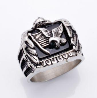 Stainless Steel Eagle Flag Solid Biker Ring (sizes 7-15)