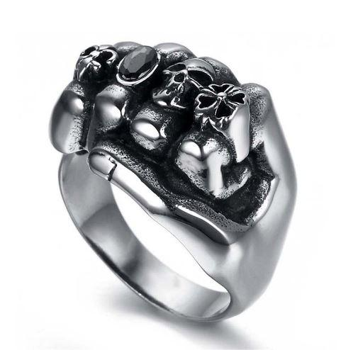 Stainless Steel Flower Skull Biker Ring (sizes 8-13)