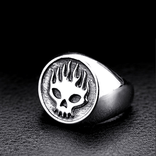 Flaming Ghost Biker Ring (sizes 7-13) - Shopy Bay