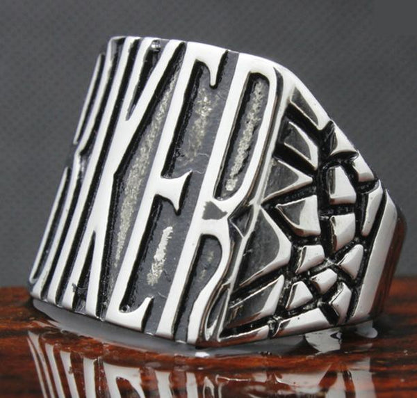 """BIKER"" Stainless Steel Biker Ring (sizes 8-15) - Shopy Bay"