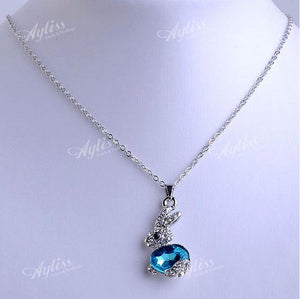 Blue Crystal Glass Rhinestone Rabbit Bead Adjustable Necklace - Shopy Bay