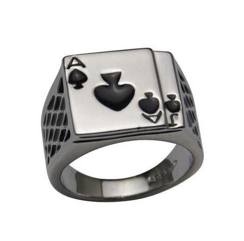 Enamel Spades Men Poker Ring (sizes 7-13) - Shopy Bay