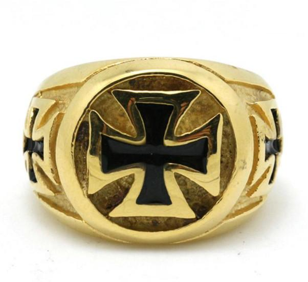 Golden Cross Biker Ring (sizes 8-14) - Shopy Bay