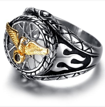Golden Eagle Stainless Steel Biker Ring (sizes 8-13)
