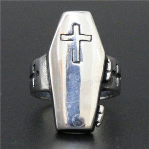 Stainless Steel Creepy Coffin Cheater with Cross Biker Ring