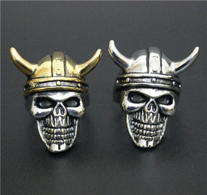 Horned Skull Biker Ring (size 8-14)