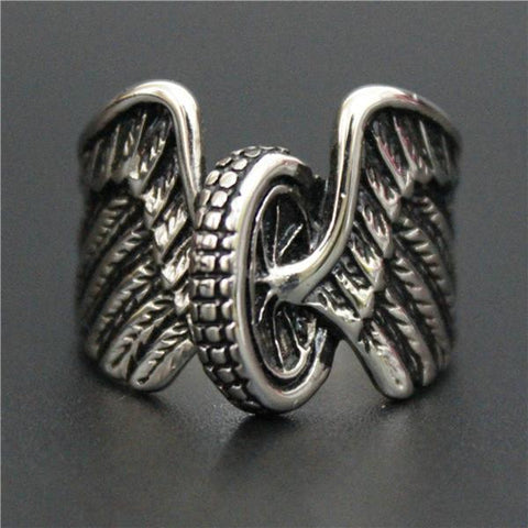 Stainless Steel Eagle Wings Tire Biker Ring (sizes 8-13)