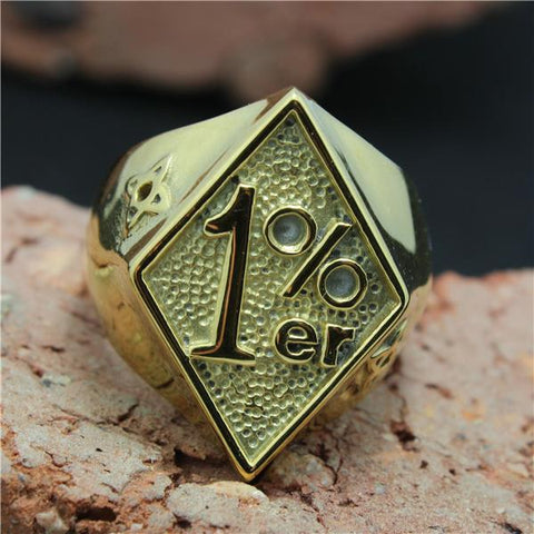 Golden 1%er Biker Ring (size 8-15)