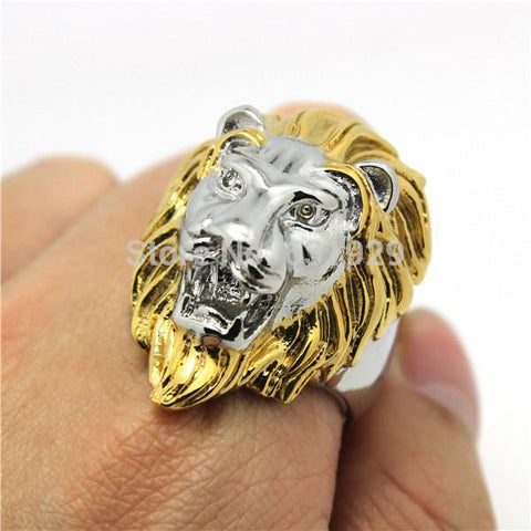 Silver Golden Lion Biker Ring (Size 8-13)