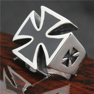 Black Cross Biker Ring (size 8-14) - Shopy Bay