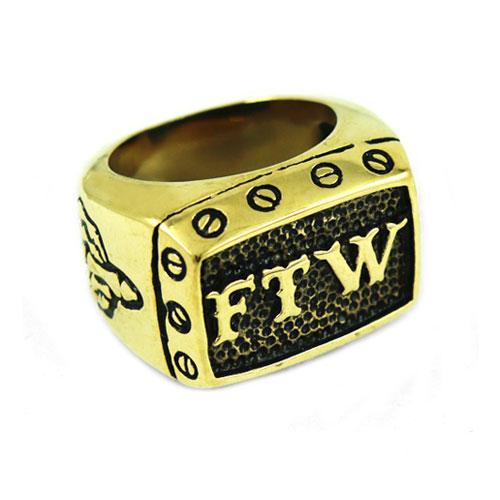 Stainless Steel FTW Biker Ring (sizes 7-15)