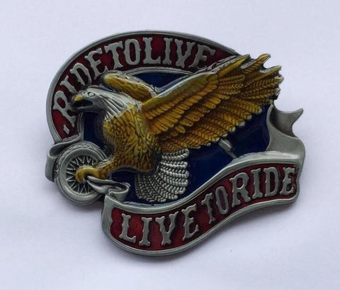 LIve To Ride Eagle Bikers Belt Buckle