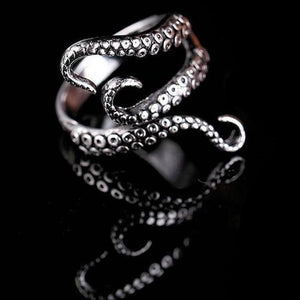 Deep Sea Squid Octopus Resizable Goth Ring