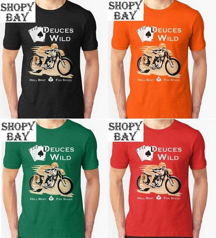 Deuces Wild Biker T-Shirt - Shopy Bay