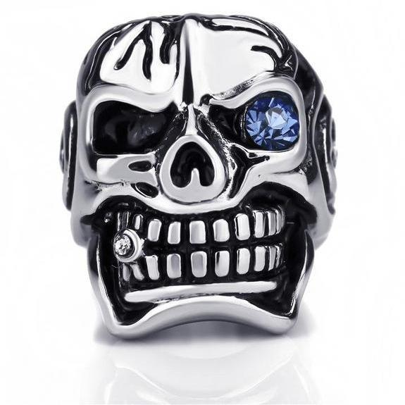 3 Colors Stainless Steel Skull colored Eye Biker Ring (sizes 8-15)