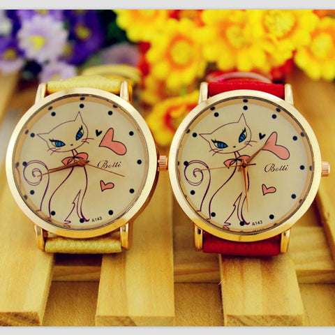 Ladies Vintage Cat Watch