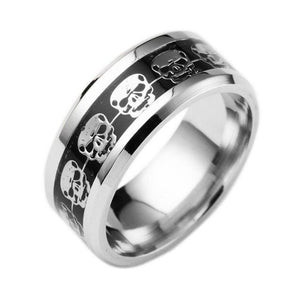 Stainless Steel Linked Skull Biker Ring