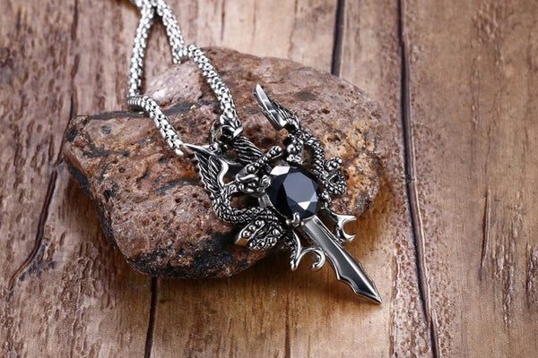 Double Dragon Cross Sword Necklace