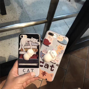 3D Soft Silicone Squeezie Cat iPhone Case - Shopy Bay