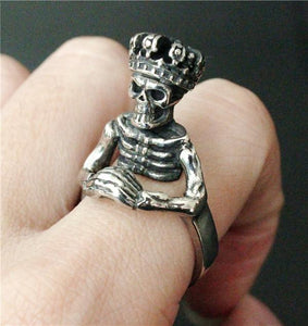 Noble King Skull Biker Ring (size 7-13)
