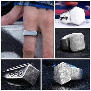 Stainless Steel Geometrical Shapes Biker Ring