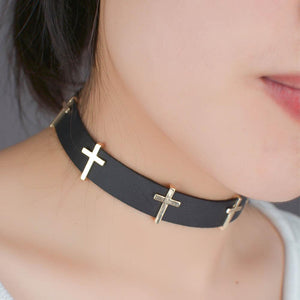 Cross Protected Leather Choker