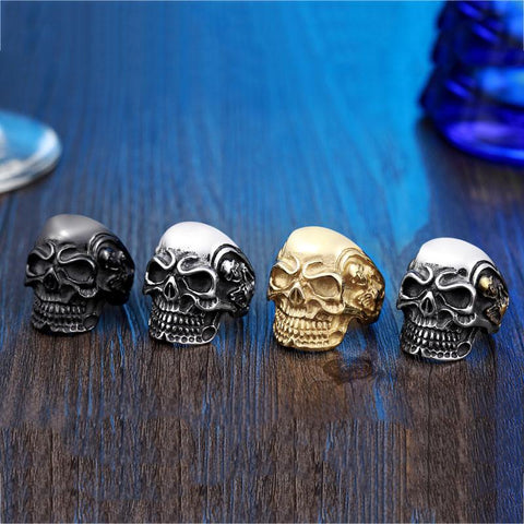 Stainless Steel Big Angry Skull Biker Ring