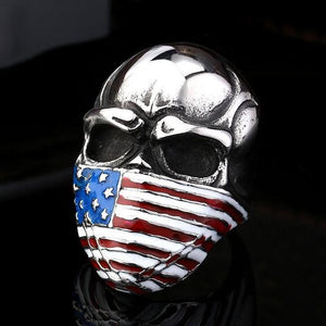 Stainless Steel American Flag Skull Biker Ring (size 7-14)