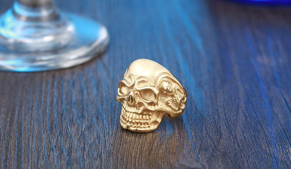 Stainless Steel Big Skull Biker Ring