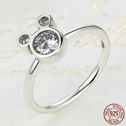 Clear Stone Mickey Ring
