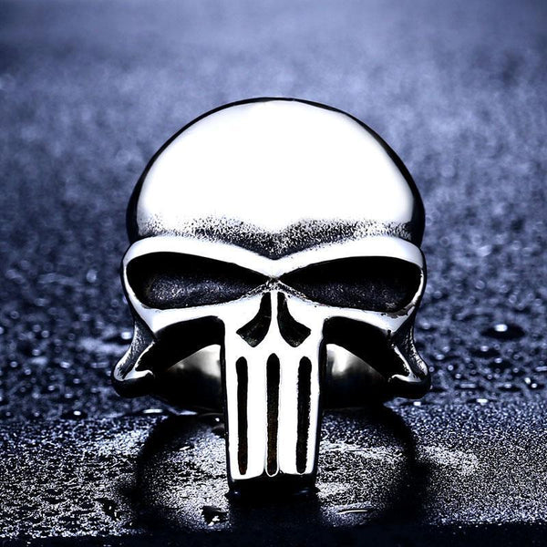 Stainless Steel Punisher Skull Biker Ring