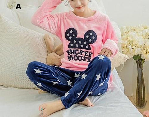 Mickey Thick Warm Coral Flannel Pajama