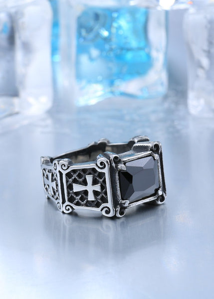 Double Cross Biker Ring (Size 7-13)